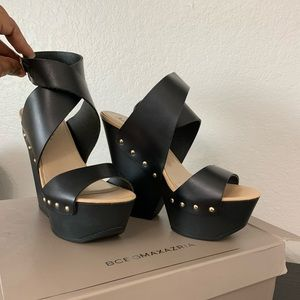 BCBG | Black Thick Strap Studded Wedge Sandal